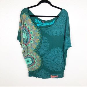 Desigual Graphic Print Dolman Short Sleeve Blouse